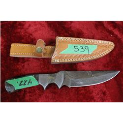 Knife - Damascas Blade - Blackish Handle w/Sheath