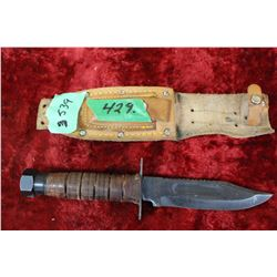 Knife - Blade has Saw Top - Leather Handle - Made in Japan