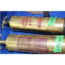 2 Brass Fire Extinguishers - one money