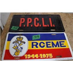 PPCLI and RCEME Military License Plates - 2 x the money
