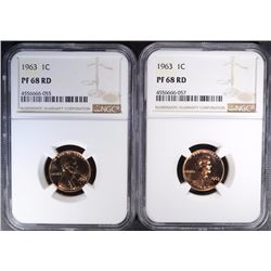 (2) 1963 LINCOLN CENTS, BOTH NGC PF-68 RD