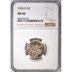 1936-D BUFFALO NICKEL, NGC  MS-66