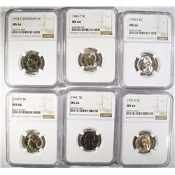 6 BETTER DATE JEFFERSON NICKELS ALL NGC MS-66