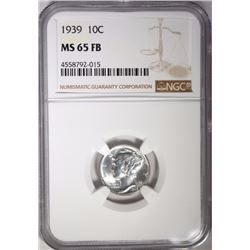 1939 MERCURY DIME, NGC MS-65 FB