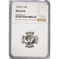 1943-D MERCURY DIME, NGC MS-66 FULL BANDS