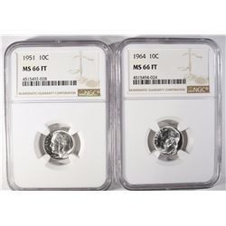 1951 & 1964 ROOSEVELT DIMES, NGC MS-66 FT