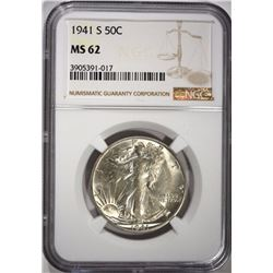 1941-S WALKING LIBERTY HALF DOLLARS, NGC MS-62