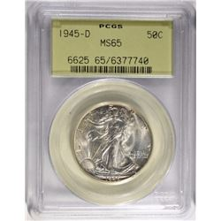 1945-D WALKING LIBERTY HALF DOLLAR PCGS MS65 OGH