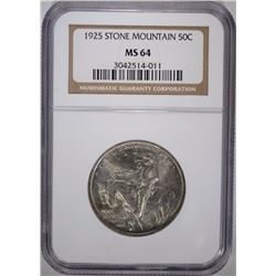 1925 STONE MOUNTAIN COMMEM HALF DOLLAR, NGC MS-64