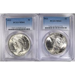 2- PEACE SILVER DOLLARS, PCGS MS-64: 1922 & 1923