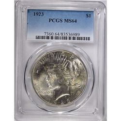 1923 PEACE SILVER DOLLAR, PCGS MS-64