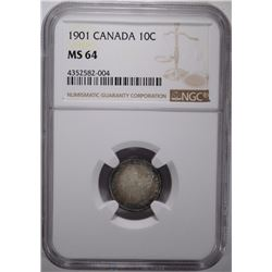 1901 CANADA TEN CENTS NGC MS 64