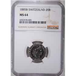 1885B SWITZERLAND 20R NGC MS 64