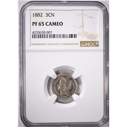 1882 3 CENT NICKEL, NGC PF-65 CAMEO