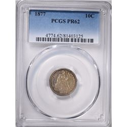 1877 SEATED LIBERTY DIME, PCGS PR-62