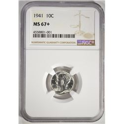 1941 MERCURY DIME, NGC MS-67+