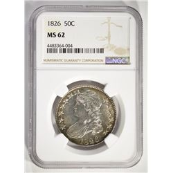 1826 CAPPED BUST HALF DOLLAR, NGC MS-62 WHITE