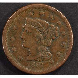 1857  ( SMALL DATE )  LARGE CENT, XF