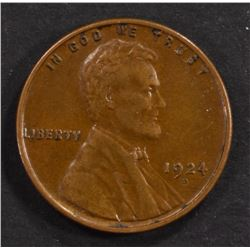 1924-D LINCOLN CENT, XF/AU NICE!!