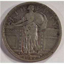 1917-S T-1 STANDING LIBERTY QUARTER, VF