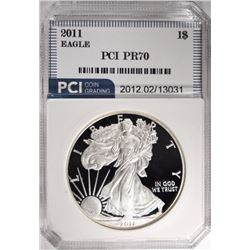 2011-W AMER SILVER EAGLE, PCI PERFECT GEM PROOF