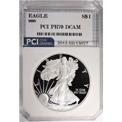 2008-W AMER SILVER EAGLE, PCI PERFECT GEM PROOF