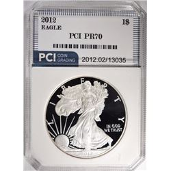 2012-W AMER SILVER EAGLE, PCI PERFECT GEM PROOF