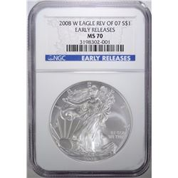 2008-W REV OF 07 SILVER EAGLE, NGC MS-70 ER