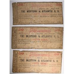 (3) 50 CENT NOTES FOR THE WESTERN & ATLANTIC R.R.