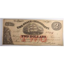 1864 $2.00 STATE OF MISSISSIPPI NOTE -SCARCE!