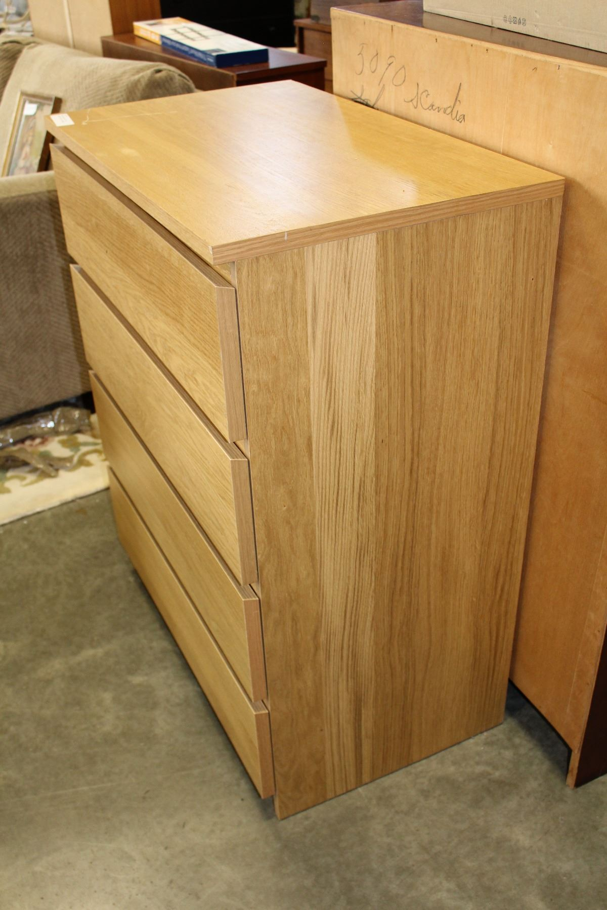 Ikea Malm Maople Finish 4 Drawer Chest Of Drawers