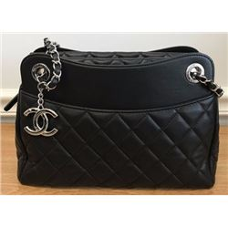 Black Chanel Lambskin Shoulder Shopper Tote Bag Chanel Bag