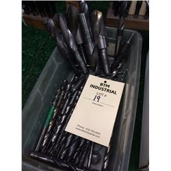 "Lot 19 Box of misc drills shank sizes  3/8""  ½"" and ¾"""