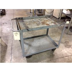 "Roll around shop cart on casters 3'x 2'x 32"", 2 shelves all metal"