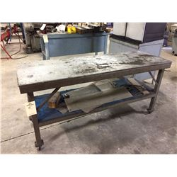 "Heavy duty steel table on casters 6' x 2'x 34"" 1 shelf"