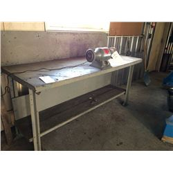 "Heavy duty Steel table (no contents) 6'x 28""x 34"""