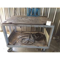 "Heavy duty steel welding table on casters, 46""x32""x36"""