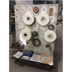 Grinding wheel on peg board cart all contents