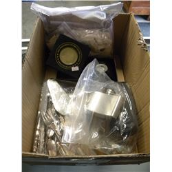 BOX OF SILVERWARE/STAMPS/FLASKS/COINS/MISC COLLECTIBLES