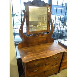 CANADIANA OAK 3 DRAWER DRESSER WITH MIRROR