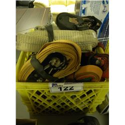 CRATE OF MISC TIE DOWN STRAPS