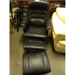 BLACK LEATHER CHAIR WITH 2 FOOT STOOLS