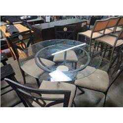 5 PIECE ROD IRON & GLASS CIRCULAR INDOOR DINING SET