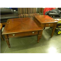MATCHING INLAY COFFEE TABLE AND END TABLE
