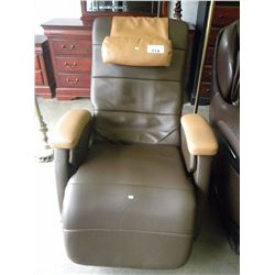 BROWN AND TAN MASSAGE ELECTRIC  RECLINER (TESTED/FUNCTIONAL)