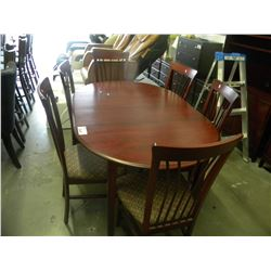 CHERRYWOOD COLOR DINING TABLE WITH 6 CHAIRS/2 LEAVES