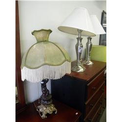 2 NICKEL FINISH LAMPS/FIGURAL LAMP(ESTATE GOODS)