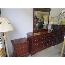 3 PC BEDROOM SUITE DRESSER/MIRROR/NIGHTSTAND