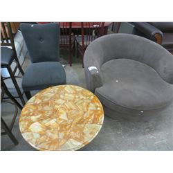 CURVED CHAIR/MARBLE TOP COFFEE TABLE/SINGLE DINING CHAIR