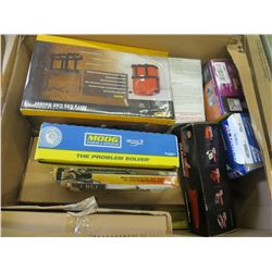 BOX OF STORE OVERSTOCK CAR AND TRUCK PRODUCTS